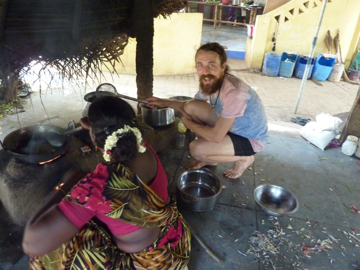 Cooking at Solitude Farm, India