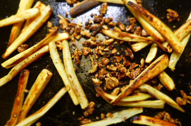Lovely maple roasted parsnips and walnuts