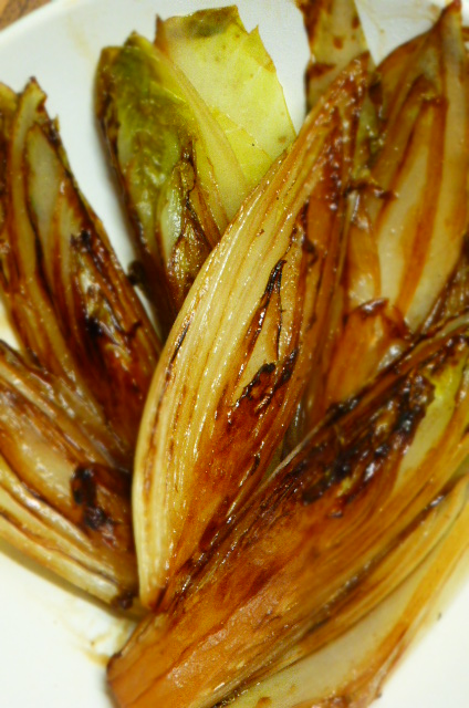 Chicory braised in sloe gin