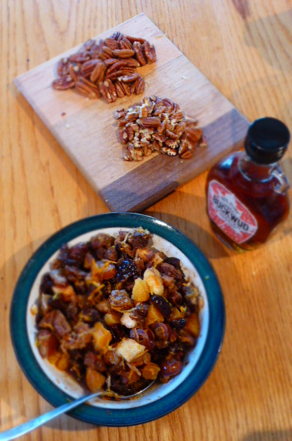 The Bits - Maple syrup, soaked boozy fruit and pecans.  Woooah!
