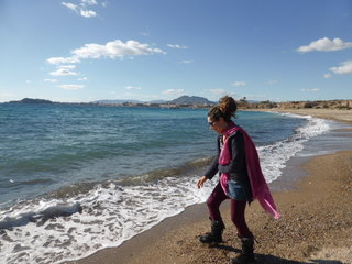 As close as Jane got to a swim (the Med's a bit chilly in winter), El Mojon, Spain