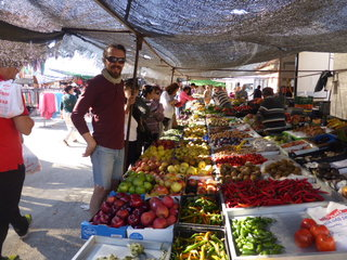 Sorting out some stunning veggies and fruit down at the Sunday market. Mazarron, Spain