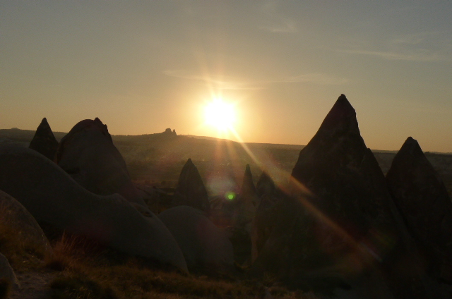 Sunset in the intriguing landscape of Cappadocia