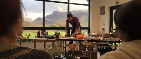 One of the cooking demos at the vegan cooking retreat
