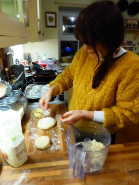 Mum busy with scones.  Always amazing to see Mum in the kitchen!