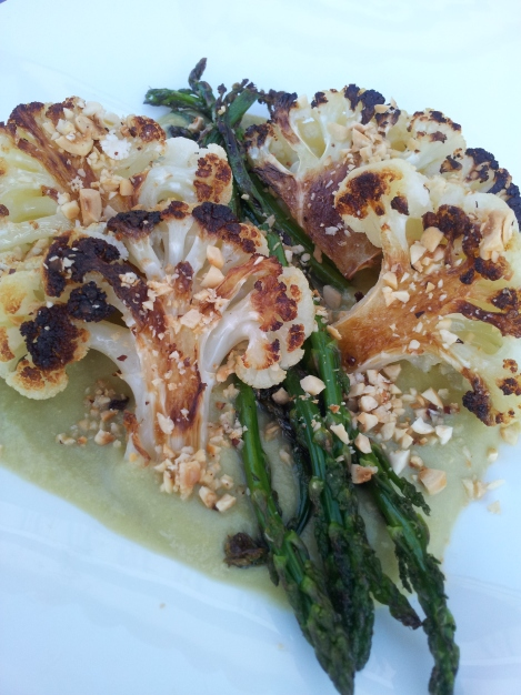 Roasted Cauliflower Hearts with Hazelnuts and Creamy Asparagus Sauce