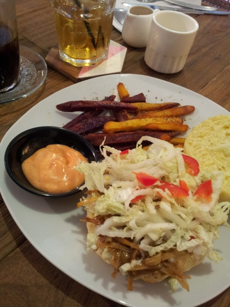 Jack fruit burger with sweet potato fries- It's not just the coffee that awesome in Indonesia