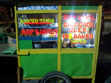Gado gado. Just the best. These carts, hundreds of thousands of them, are doing amazing things with peanuts and veggies all over Indonesia. Cost, about 50p for dinner. This guy is one of the best if you bump into him. Sulawesi PS - Another popular dish is Ketropak, which is like Gado Gado without the amazing peanut sauce