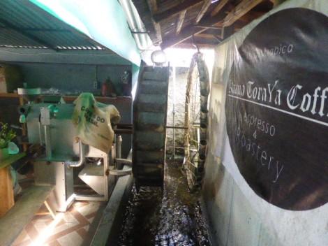 Elli's water wheel powered coffee roaster. Ingenius!