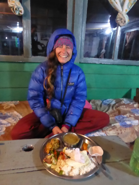 Dinner way up in the Himalayas (we slept in a draughty cupboard that night, but dinner was fine.)